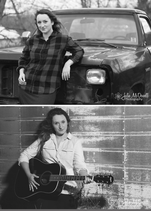 senior portrait with truck and guitar